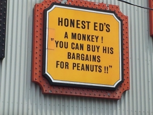 Honest Ed-Monkey & peanuts