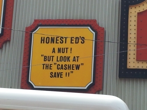 Honest Ed-cashew save
